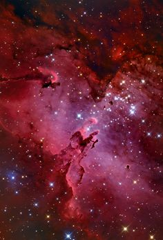 M16 and the Eagle Nebula  A star cluster around 2 million years young, M16 is surrounded by natal clouds of dust and glowing gas also known as The Eagle Nebula. This beautifully detailed image of the region includes cosmic sculptures made famous in...