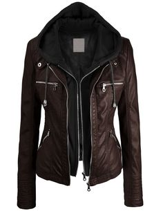 I want a leather jacket soo bad! Lock and Love Women's Removable Hoodie Motorcyle Jacket XL BLACK Lock and love Vegan Leather Jacket, Faux Leather Jackets, Leather Hoodie, Hooded Leather Jacket, Leather Jacket With Hood, Leather Coats, Fashion Mode, Look Fashion, Biker Fashion