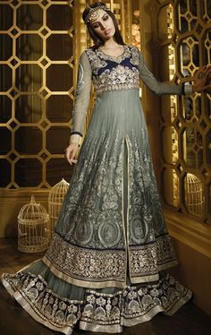 Gleaming Slat Gray Floor Length Salwar Suit