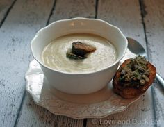 Roasted Brussels sprout soup, chestnut toast #recipe