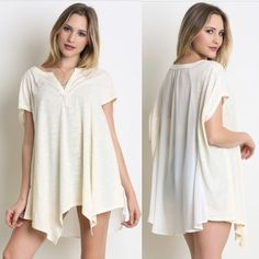 Aja Cream Top V neck top with semi sheer back. Short sleeves.  Many sizes available. Please contact me for your own listing! Lewboutiquetwo Tops