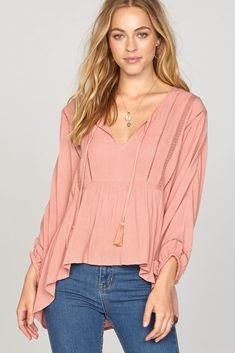The Cool Breeze Woven Top is a crinkle woven top with lace inserts and a drawcord and tassel necktie. Lace Inset, Breeze, Ruffle Blouse, Cool Stuff, My Style, Long Sleeve, Model, How To Wear, Clothes