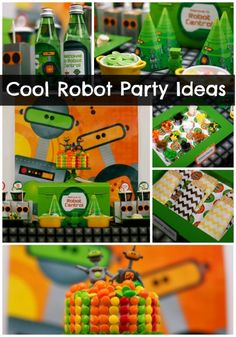 "A ""make your own robot"" dessert table for a boy's birthday party"