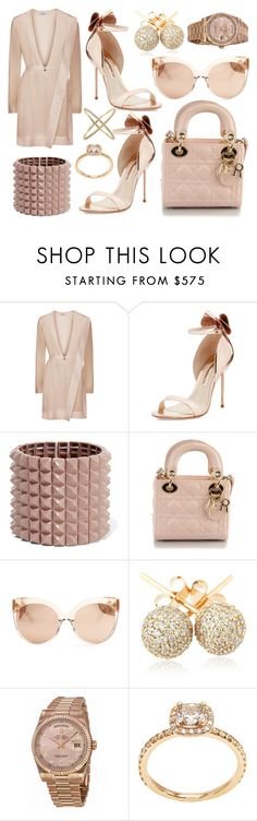 """Champagne"" by lucya-knight ❤ liked on Polyvore featuring Sophia Webster, Valentino, Christian Dior, Linda Farrow, Loushelou, Rolex and Eva Fehren"