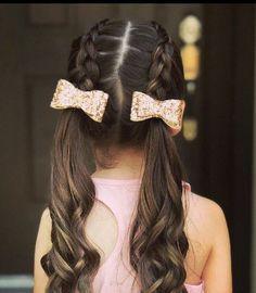 Glitter hair bows, sparkl - Mascara Tips Girls Hairdos, Cute Little Girl Hairstyles, Cute Girls Hairstyles, Braided Hairstyles, Easy Hairstyle, Girls Back To School Hairstyles, Toddler Girls Hairstyles, Child Hairstyles, Black Hairstyle