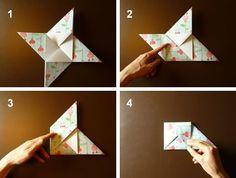 origami envelope fold in corners of pinwheel *****videó és fotó instrukció