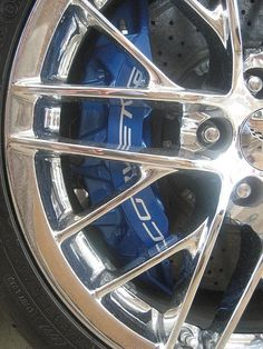 Close-up photo of blue Brembo brake calipers on a Chevrolet Corvette ZR1...prints, posters, and cards for sale at Fine Art America (just click on the photo to go there)