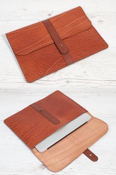 """Leather case fits MacBook Air 11"""" or MacBook 12"""" or anything you need for on the go.  Can be used as a sleeve for all 10- 11 inch tablet and ultrabooks. It easily fits a folder (8.5"""" x 11"""" size) with 40-50 sheets of A4 paper  Made of thick vegetable tanned leather with brass antique closure."""