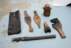 piezas de madera utilizadas en la fabricación de vidrio. coleccion de Max Lambs
