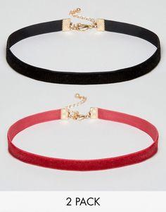 ASOS | ASOS Velvet Pack of 2 Choker Necklace