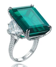 Chopard Emerald Ring $2.14 million This bold cocktail ring--with half-moon diamond shoulders holding up a 33.02-carat solitaire emerald on a pave-set diamond and platinum band--outshines its rivals.