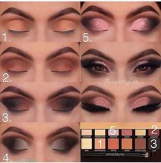 Super makeup tutorial eyeshadow maquillaje Ideas Super Make-up Tutorial Lidschatten Make-up Ideen Eye Makeup Steps, Simple Eye Makeup, Smokey Eye Makeup, Eyeshadow Makeup, Eyeliner, Drugstore Makeup, Eyeshadow Ideas, Natural Makeup, Pink Eyeshadow