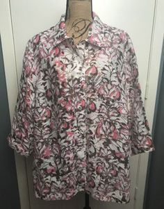 Allison Daley II Plus Sz 24 W Floral 3/4 Sleeve Button Down Cotton Blend Shirt   eBay