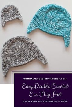[sc Easy Double Crochet Ear Flap Hat Pattern in 11 sizes by Oombawka Design This free pattern is crocheted with medium weight yarn and a mm (I) crochet hook. The samples were crocheted with Red Heart Super Saver… Continue Reading → Crochet Kids Hats, Crochet Gloves, Crochet For Boys, Double Crochet, Easy Crochet, Free Crochet, Crochet Men, Crochet Braids, Free Knitting