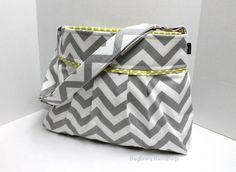 Monterey Chevron Diaper Bag  Medium  In Grey Chevron by BagEnvy, $75.00