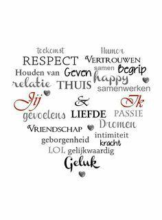 In deze woordwolk zien we een opsomming van mooie woorden die geassocieerd kunnen worden met liefde. Deze woorden kunnen in het begin opgesomd worden door de 'liefde', vertolkt door een groepje kinderen, in de mondelinge woordwolk. Af en toe zullen de kinderen namelijk woorden opsommen die de liefde op dat specifieke moment typeren. Deze woorden zouden dan de verwachtingen uitdrukken van de twee geliefden wanneer de liefde nog niet 'moe' was.