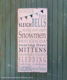 Winter Fun with Bunting Typography Word Art by barnowlprimitives on Etsy