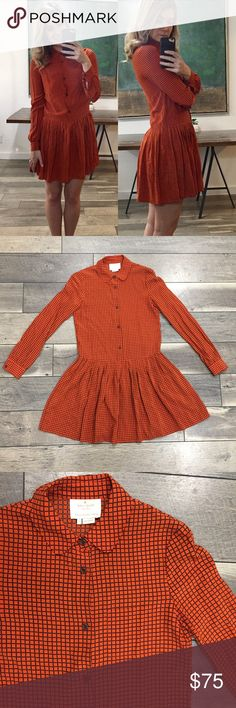 Kate Spade Orange Checkered Sullivan Dress So so cute! Perfect for the office or for brunch with friends! Adorable orange color and skirt pleating make this piece a go-to.  Size 0. Could fit larger (I'm typically a 4, you can see how it fits me in first pic), but best for small busts. Like new condition. kate spade Dresses Mini