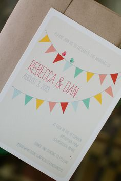 Bright & Colorful Wedding Invitations from Minted.com --  See More on #SMP here: http://www.StyleMePretty.com/new-england-weddings/2014/04/09/family-diy-wedding-in-maine/ -- Photography: MeredithPerdue.com