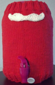 Knitted One Gallon Kombucha Tea Jar Mustache Santa Cozy by Bizyhands