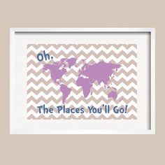 Dr Seuss Quote  purple blue and taupe Modern by YassisPlace, $30.00