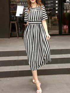 To find out about the White And Black Striped A-Line Dress at SHEIN, part of our latest Day Dresses ready to shop online today! White Maxi Dresses, Simple Dresses, Women's Dresses, Dress Outfits, Casual Dresses, Fashion Dresses, Casual Shoes, Frack, Striped Dress