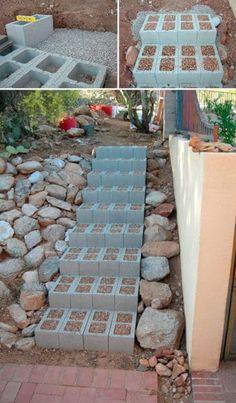 Blocos de concreto ou de betão, são materiais de construção que podem ser utilizados no seu jardim para criar fantásticos bancos ou vasos para plantas, super originais e criativos!.
