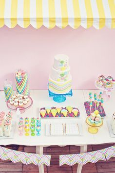 sweet shoppe party - oh the details! I love the chevron candy jars and the cake pops in ikea cups