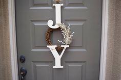 Joy sign, joy wreath, christmas sign, christmas door hanger, farmhouse christmas decor, rustic christmas sign, Joy, christmas decorations