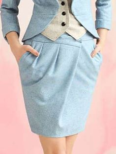 Charming Concise Wool Women's Blue Skirt - Skirts - Women's Clothing