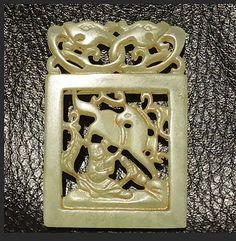 Vintage Nephrite Jade Pendant Hollow Carving 22.9 Grams