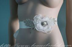Ivory Flower Bridal Sash - Wedding Dress Sash Belt , Handmade  ivory flowers and  Rhinestone Bridal Sash, white wedding dress belt by LAmei on Etsy