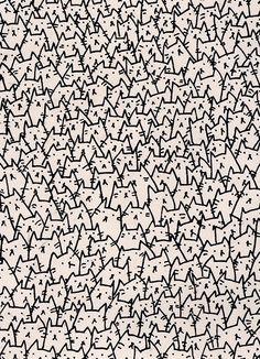 A Lot of Cats Art Print - zentangle pattern. Crazy Cat Lady, Crazy Cats, Textures Patterns, Print Patterns, Pattern Art, Cat Rug, Cat Shower Curtain, Shower Curtains, Cat Art Print