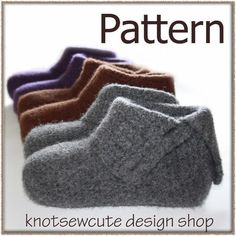 Ravelry: Simply Felted Ladies Slippers pattern by Kim Miller Crochet Socks, Knit Or Crochet, Crochet Crafts, Easy Crochet, Knitting Socks, Crochet Things, Vogue Knitting, Felted Slippers Pattern, Knitted Slippers
