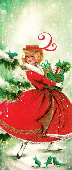 Feather in her Christmas hat. www.rubylane.com @rubylane Follow us on Facebook http://www.facebook.com/rubylane #vintage #antiques #jewelry