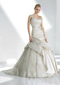 One shoulder dropped waist ball gown satin wedding dress - Wedding Day Pins : You're Source for Wedding Pins! Wedding Dress 2013, Cute Wedding Dress, Applique Wedding Dress, Colored Wedding Dresses, Bridal Wedding Dresses, Lace Wedding, Chapel Wedding, Bridal Style, Wedding Beach