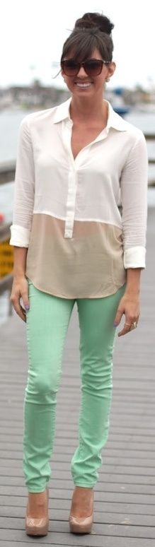 These mint pants scream fabulous. Wear them with blacks and navy blues in the winter. Try some pinks and light blues for the spring. Go for white in the summer. And  neutrals in the fall.