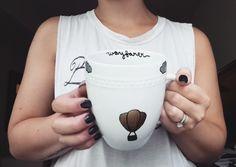 Hot Air Balloon Mug  Travel-themed Mug  by CopilotCreations
