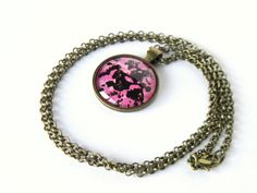 Pink Camo Necklace, Hand Painted Glass Pendant, Gift for Her, Fall Jewelry, Rustic Necklace by LadyInPurple on Etsy https://www.etsy.com/listing/248159141/pink-camo-necklace-hand-painted-glass