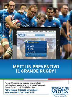 Fino al 31 Marzo 2014 chi QuotaRapido vince una coppia di biglietti per i Test Match della Nazionale di Rugby: http://www.realemutua.it/RMA/rmaweb/reale-mutua/scopri-reale/progetti/sport/federazione-italiana-rugby/vincitestmatch.html