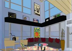 DIGITAL DESIGN - The original website for my portfolio. I created the illustration of the loft in Illustrator and then added work examples as artwork or elements within the room.