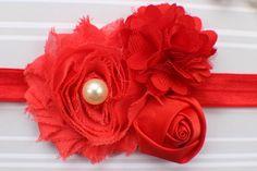 Red-baby-headband-lace-headband red flower