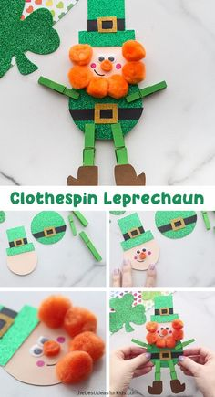 Clothespin Leprechaun - such a cute St Patrick's day craft for kids! Make this adorable clothespin leprechaun which comes with a free printable template. Great for preschool or kindergarten to make! St Patricks Day Crafts For Kids, Rainy Day Crafts, St Patrick's Day Crafts, Holiday Crafts, Easy Crafts, March Crafts, Spring Crafts, Crafts For Seniors, Crafts For Teens