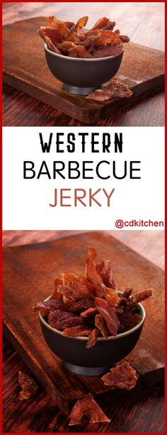 You can use beef, pork, or turkey in this recipe (and it doesn't require a dehydrator). The marinade is what gives it the delicious barbecue flavor. Pork Jerky Recipe Dehydrator, Smoker Jerky Recipes, Chicken Jerky Recipe, Beef Jerky Marinade, Venison Jerky Recipe, Jerkey Recipes, Smoked Beef Jerky, Homemade Beef Jerky, Venison Recipes