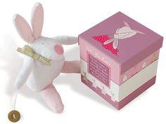 Rufus Rabbit Kanin spilledåse rosa i eske Baby Girl Gifts, Baby Girls, Newborn Gifts, Bookends, Musicals, Dinosaur Stuffed Animal, Rabbit, Barn, Toys