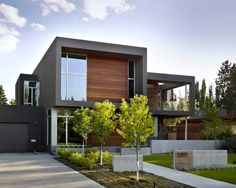 Home design black cube house design with wooden wall and garage 28