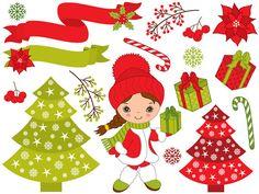 BUY 1 GET 2 FREE  Christmas Little Girl Clipart  by TanitaArt