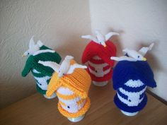 Knitted Egg Cosy Cosie Cozy  Set of 4 Beach Huts by rosiecosie, £14.99