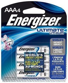 Energizer Ultimate Lithium AAA Batteries World's Longest-Lasting AAA Battery in High-Tech Devices (4 pack)