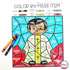 Catholic Color by Mass Item Coloring Pages - the fun and engaging way to teach your students about the items we use during Mass. Because there are five versions included, this is perfect for little ones, young children and older children as well. Perfect for your Catholic school, religious education, or Sunday school classroom. Help your students identify the items they see in church with these awesome coloring pages. Click to try out a FREE SAMPLE! Catholic Mass, Catholic School, Communion Cups, Sunday School Classroom, Wine Candles, Eucharist, Religious Education, Life Pictures, Vocabulary Words